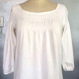INC White Smocked Knit Blouse